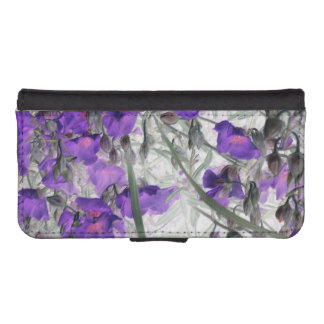 pretty purple flowers phone wallet case