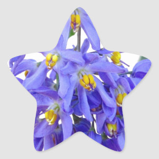Pretty Purple Flowers Star Sticker