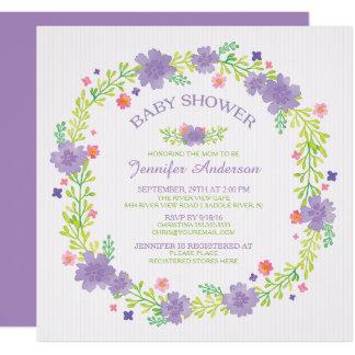 Pretty Purple Flowers Wreath Girls Baby Shower Card