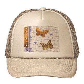 Pretty Purple & Gold butterflies & music collage Cap