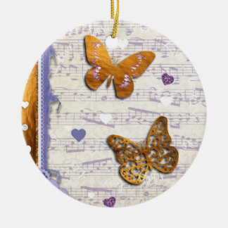 Pretty Purple & Gold butterflies & music collage Christmas Ornament
