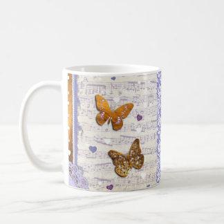 Pretty Purple & Gold butterflies & music collage Coffee Mug