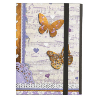 Pretty Purple & Gold butterflies & music collage iPad Cases