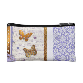 Pretty Purple & Gold butterflies & music collage Makeup Bag