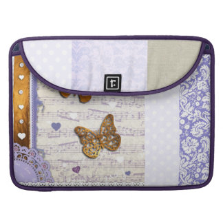 Pretty Purple & Gold butterflies & music collage Sleeve For MacBook Pro