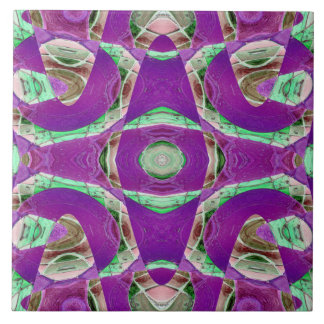 pretty purple green abstract large square tile