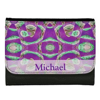 Pretty purple green fancy pattern women's wallets