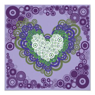 Pretty Purple Green Hearts and Circles Pattern 13 Cm X 13 Cm Square Invitation Card