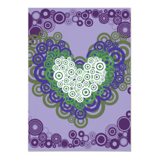 Pretty Purple Green Hearts and Circles Pattern 13 Cm X 18 Cm Invitation Card