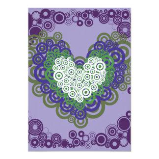 Pretty Purple Green Hearts and Circles Pattern 5x7 Paper Invitation Card