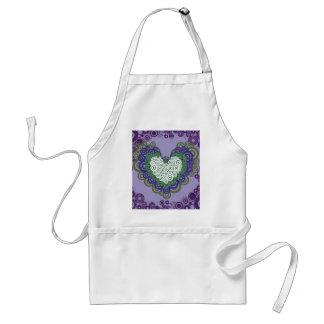 Pretty Purple Green Hearts and Circles Pattern Standard Apron