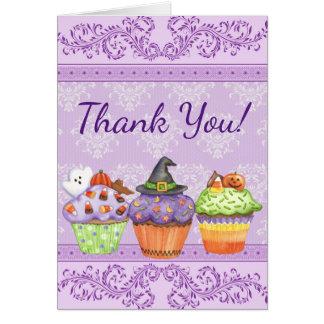 Pretty Purple Halloween Cupcakes Thank You Card