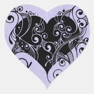 Pretty Purple Heart Tribal Sticker