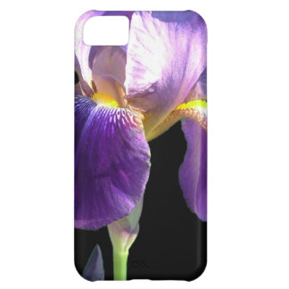 pretty purple iris flower in black background. iPhone 5C cover