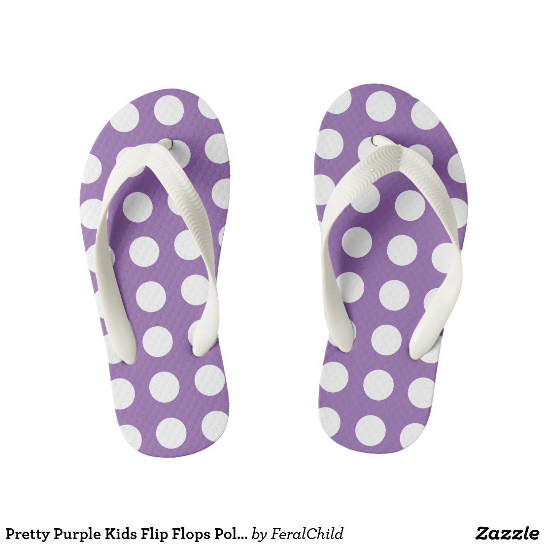 Pretty Purple Kids Flip Flops Polka Dot