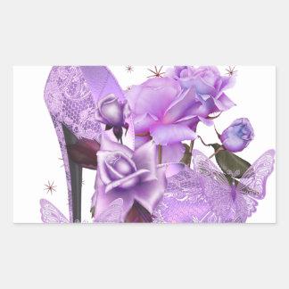 Pretty Purple Lavender Hi Heel Rose Floral Rectangular Sticker
