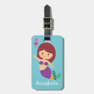 Pretty Purple Mermaid Personalize Luggage Tag