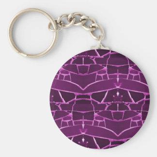 Pretty Purple Mosaic Tiles Girly Pattern Keychains