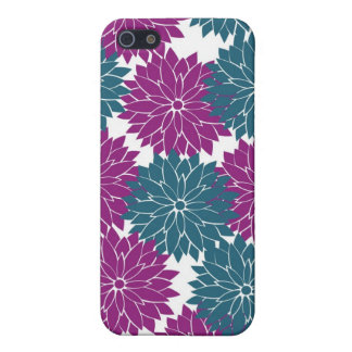 Pretty Purple Navy Blue Flower Blossoms Print iPhone 5/5S Cover