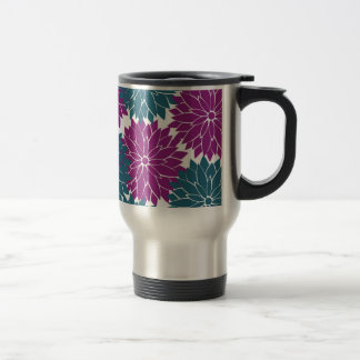 Pretty Purple Navy Blue Flower Blossoms Print Travel Mug
