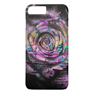 Pretty Purple Painted Rose Floral Grunge iPhone 7 Plus Case