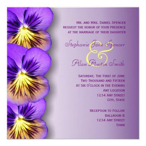 Pretty Purple Pansies Wedding Invitation