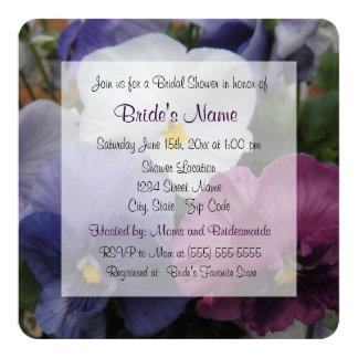Pretty Purple Pansy Bridal Shower Invitation