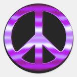 Pretty Purple Peace Sign Round Stickers