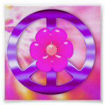 Pretty Purple Peace Sign Tie Dyed Poster Print