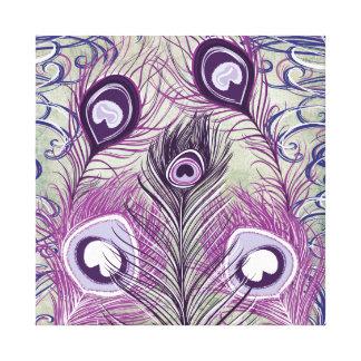 Pretty Purple Peacock Feathers Elegant Design Canvas Print