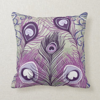 Pretty Purple Peacock Feathers Elegant Design Cushion