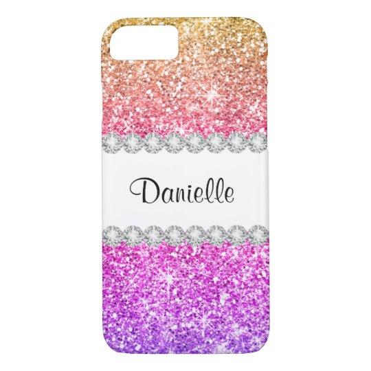 Pretty Purple Pink Glitter White Diamond Beautiful iPhone