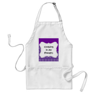 Pretty Purple Polka Dots Wave with Pink Flower Adult Apron