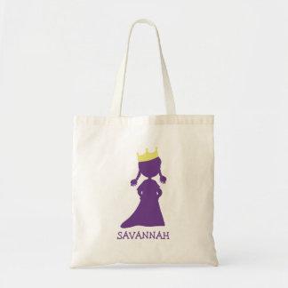 Pretty Purple Princess Silhouette Little Girls Budget Tote Bag