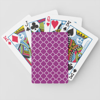 Pretty Purple Quatrefoil Pattern Bicycle Playing Cards