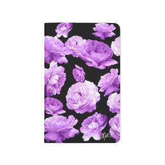 Pretty Purple Roses on Black Floral Pocket Journal