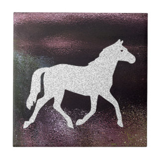 Pretty Purple Shimmering Metallic Horse Small Square Tile