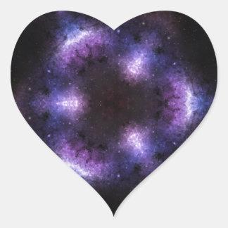 Pretty Purple Space Kaleidoscope Art Heart Sticker