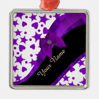 Pretty purple spotty girly pattern personalized Silver-Colored square decoration