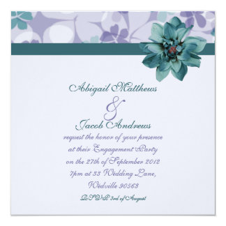 Pretty Purple & Teal Blue Flower Engagement Invite