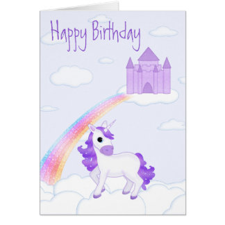 Pretty Purple Unicorn and Castle Kid Birthday Card