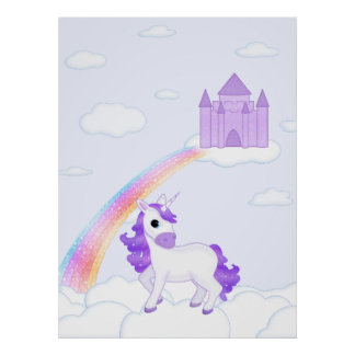 Pretty Purple Unicorn Cartoon Illustration Poster