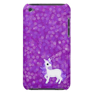 Pretty Purple Unicorn on a Sparkly Glitter Pattern iPod Touch Case-Mate Case