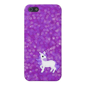 Pretty Purple Unicorn on Glitter Pattern iPhone 5/5S Cases