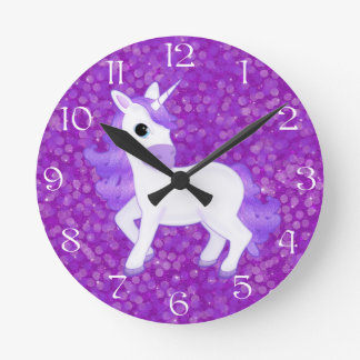 Pretty Purple Unicorn on Glitter Syle Background Round Clock