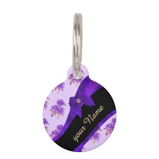 Pretty purple vintage floral flower pattern pet ID tag
