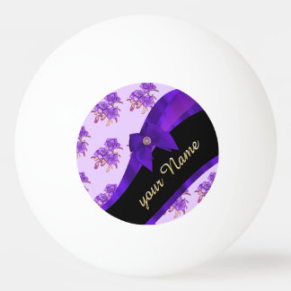 Pretty purple vintage floral flower pattern ping pong ball
