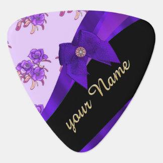 Pretty purple vintage floral flower pattern plectrum