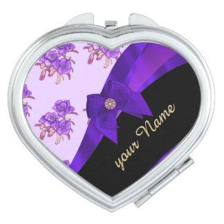 Pretty purple vintage floral flower pattern travel mirror