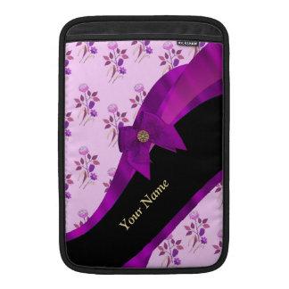 Pretty purple vintage floral pattern sleeve for MacBook air